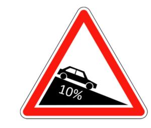 panneau routier pente 10%